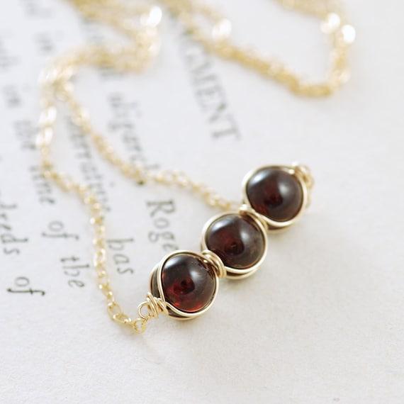 Black Friday Cyber Monday Sale Garnet Jewelry, January Birthstone Necklace 14K Gold Fill, Red Gemstone Necklace, January Birthstone