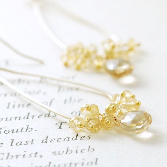 November Birthstone Citrine Champagne Hoop Earrings 14k Gold Fill, Gemstone Teardrop Dangle Earrings