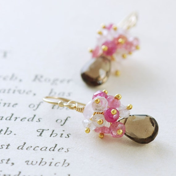 Gold Gemstone Earrings, Pink Sapphire Moonstone Smoky Quartz Dangle Earrings, aubepine