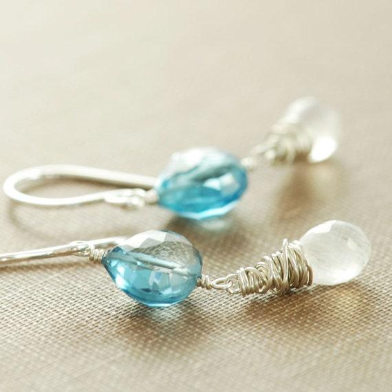 London Blue Topaz Earrings, December Birthstone Blue Topaz Jewelry, Sterling Silver Drop Earrings, Topaz Moonstone