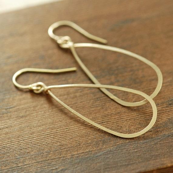 Gold Teardrop Earrings, 14k Gold Fill Hoop Earrings, Handmade Earrings, Metal Jewelry