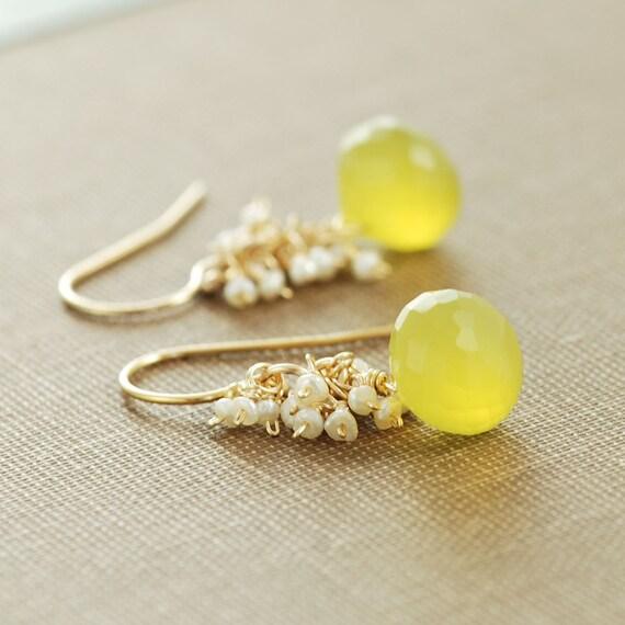 Yellow Gemstone Pearl Earrings, Gold Dangle Earrings, Lemon Meringue Pie, Seed Pearl Clusters