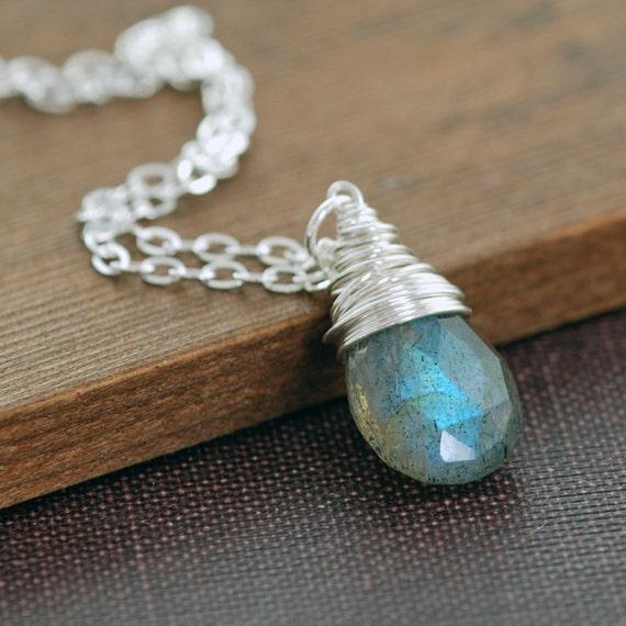 Labradorite Silver Necklace, Gray Gemstone Sterling Silver Wire Wrap Pendant, aubepine