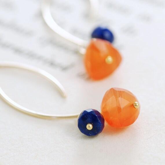 Orange Blue Gemstone Gold Earrings, Carnelian Lapis Lazuli 14k Gold Fill Wire Wrap, aubepine