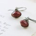 Red Marsala Stone Earrings Sterling Silver, Mookaite Gemstone Earrings, Rustic Boho Jewelry, aubepine