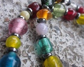 Beaded Necklace in Upcycled, Colourful Glass & Hematite Gemstone Accents .OOAK / One Of A Kind