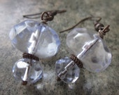Clear Blue and Brown Wire Wrapped Glass Earrings in Antiqued Copper