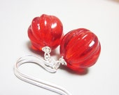 Red Earrings, Melon Beads, Vintage Glass, Bright Colour, Sterling Silver, Chunky, Canadian Seller, Philosophia Artisan Creations, OOAK