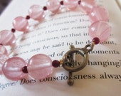 Beaded Pink Gemstone Bracelet. Cherry Quartz, Deep Red Carnelian. Antiqued Brass Toggle Clasp Closure. OOAK / One of a Kind. Chunky Bracelet