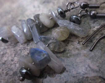 Labradorite Dangle Earrings, Natural Gemstone Chips, Winter Grey, Neutral Gray, Asymmetrical Earrings, OOAK, Modern, Everyday, For Her