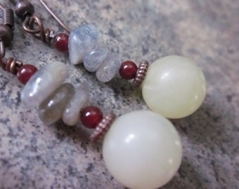 Earrings in Jade, Labradorite & Carnelian; Woodland Inspired, Pastel Green, Burnt Orange, Brown Antiqued Copper Wire, Rustic Dangles, OOAK