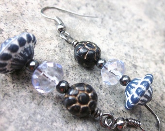 Artisan Earrings, Textured Lucite, Faceted Glass, OOAK, Navy Blue, White, Black, Dangling, Nickel Free, Made in Canada, Gifts for Her