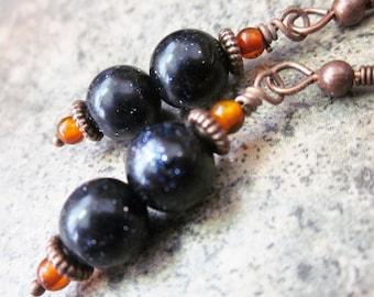 Artisan Dangle Earrings, Purple Goldstone & Orange Baltic Amber, Fall Fashion, Colour Contrast, Sparkling, OOAK, For Her, Mixed Gemstone