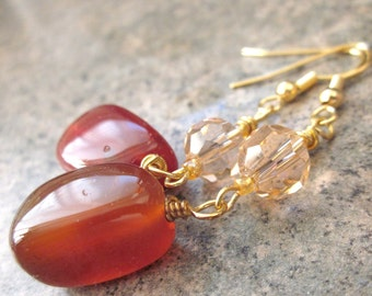 Long Dangle Earrings, Warm Colours, Natural Agate Gemstone Nuggets, Champagne Crystals, Gold Filled Wire, Spring / Summer Earrings, For Her