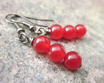 Artisan Dangle Earrings, Dangling Candy Jade Gemstone Trios, Bright Christmas Red, Minimalist, Vibrant Colour, Valentine's Gift For Her