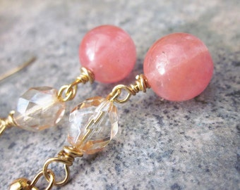 Pink Quartz Earrings, Cherry Quartz, Champagne Crystal, Gold Fill, Long Drop Earrings, Pastel Pink, Bridesmaid Earrings, Gifts for Her