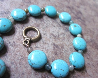 Beaded gemstone bracelet, Bright blue turquoise howlite circles, Fancy jasper, Mixed gemstone, Gift for her, Philosophia Creations, Canadian