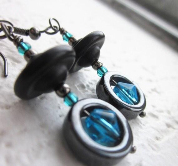 Teal & Black Earrings. Modern Design. Repurposed Vintage Wood, Hematite, Glass. Wire Wrapped in Gunmetal. OOAK Gifts for Her