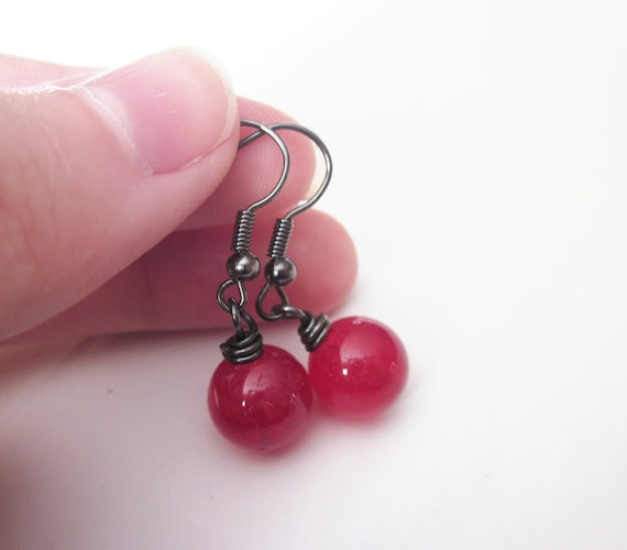 Bright Red Gemstone Earrings, Wire Wrapped in Gunmetal. Ruby Quartz Gemstone. Simple. Bright. For Her. Philosophia Artisan Creations
