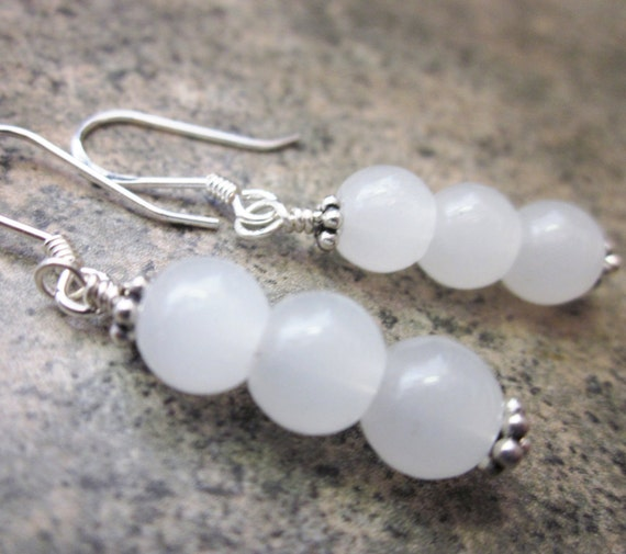 White Jade Orb Earrings, 925 Sterling Silver, Wire Wrapped Gemstone Trio, Everyday Jewelry, OOAK / One of a Kind, Bridal Earrings, For Her