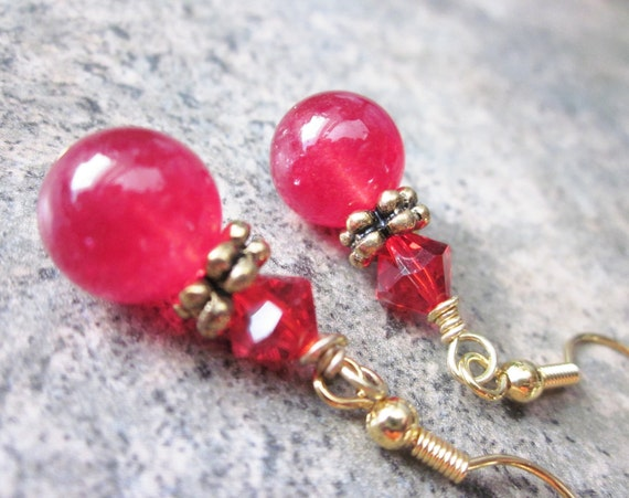Vibrant Red Stone Earrings, Gold Dangles, Ruby Quartz & Crystal, Autumn Fashion, Warm Colors, Modern Dangles, Quirky, Bright Cherry Red
