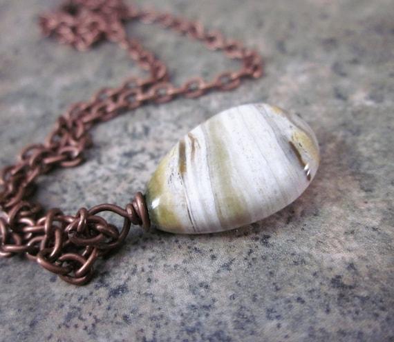 Ocean Jasper Necklace. Simple. Natural Gemstone. Semiprecious. Neutral Browns. Minimalist. Modern