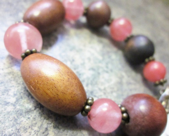 Wooden Bracelet with Pink Cherry Quartz. Gemstone Rounds with Dark Brown Upcycled Wooden Beads. Antiqued Brass Toggle Clasp Closure