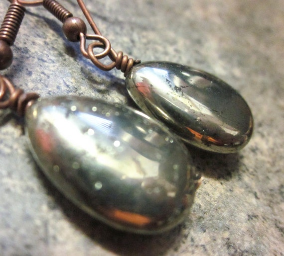 Natural Pyrite Teardrop Gemstone Earrings. Natural, Neutral Grey / Gray Gemstone Earrings in Antiqued Copper. For Her