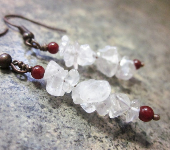 Rose Quartz Earrings with Carnelian Gemstone Accents, Wire Wrapped in Antiqued Copper. One of a Kind / OOAK. Lightweight