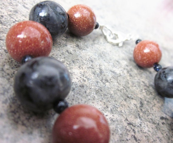 Larvikite & Goldstone Bracelets with Blue Goldstone Accents. Mixed Gemstone. Sterling Silver Closure. OOAK