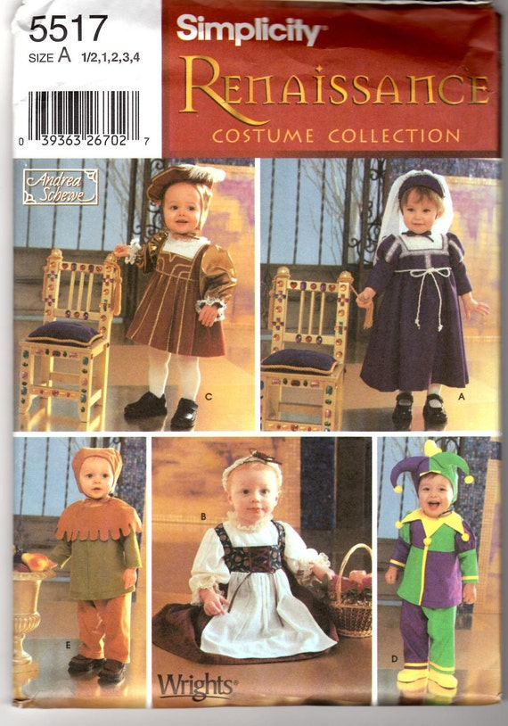 2003 UnCut Simplicity 5517 Sewing Pattern -  Toddler's Renaissance Costume Collection Sizes 1/2,1,2,3,4