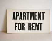 Vintage sign, Apartment for Rent