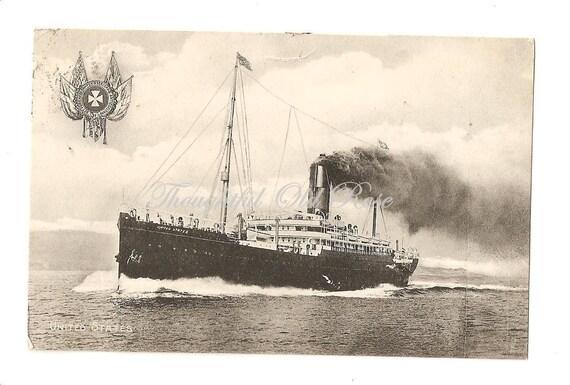 Ship at Sea, Vintage Norwegian Postcard, circa 1910