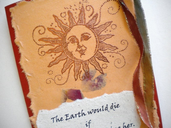 THE SUN'S KISS - Handmade Greeting Card with quote by Hafiz