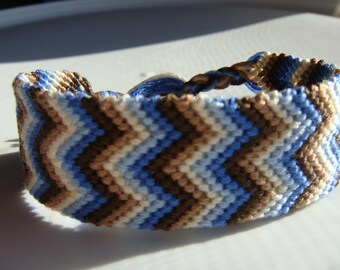 Blue and Brown Wide Friendship Bracelet