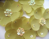 Small Spring Moss Silk Flowers with Sequins x 4