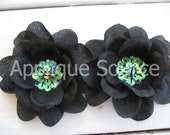 Large BLACK Craft Silk Flowers with Sequins x 5 - Silk Supply Flowers DIY Headband Sash Brooch Photo Props HALLOWEEN