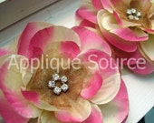 Boutique Layered Craft Silk & Organza Flower with Rhinestones - Fuchsia Cream - Set of 6 - DIY Craft Supplies DIY Headband Flowers