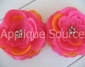 Craft Silk & Organza Rhinestone Flowers x 12 PASSION FRUIT - For Headbands, Brides, Flower Girls and More...