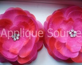 Craft Silk & Organza Rhinestone Flowers x 6 AZALEA - Photo Prop, DIY Bridal Accessory, Headbands, More...SPARKLY