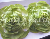 Craft Flower SALE-PRICED Shabby Chic Vintage-Look Victorian Silk Rose Flowers x 2 Spring MOSS Green