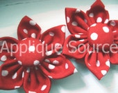 Red with White Scattered Dots Fabric Flowers - Handmade - with Cover Buttons x 2 -ALL SALES FINAL
