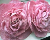 Craft Flower SALE-PRICED Shabby Chic Vintage-Look Victorian Roses x2 ROSE Pink- For Headbands, Wedding Decor...
