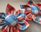 Handmade Fabric Flowers with Covered Button Centers x 2 - Patriotic Plaid