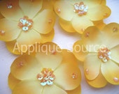 Small Light Gold Silk Flowers with Sequins x 4