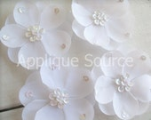 WHITE Craft Silk & Sequin Flowers -SMALL Size- Set of 4 - Skinny Headbands Hair Clips Bridal Decor and More...
