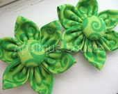 LAST CHANCE Apple Green Swirl Handmade Fabric Flowers with Covered Button Centers x 2