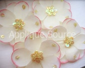 Craft Silk Sequin Craft Flowers - SMALL Size - Powder Pink x4 - SOFT For Skinny Headbands Hair Clips and More