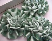Satin Flower Puffs x 3 Sage Green