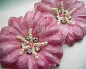 Small Rosey Mauve Craft Silk Flowers with Rhinestones and Pearls x 2 - Beautiful for Wedding Decor, Bridal Headpieces, Etc - So Elegant!